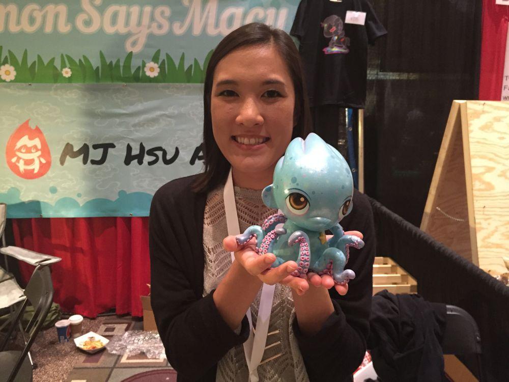 Mei-Jean Hsu holds one of her earliest custom toy pieces. (Photo: Liz Ohanesian)