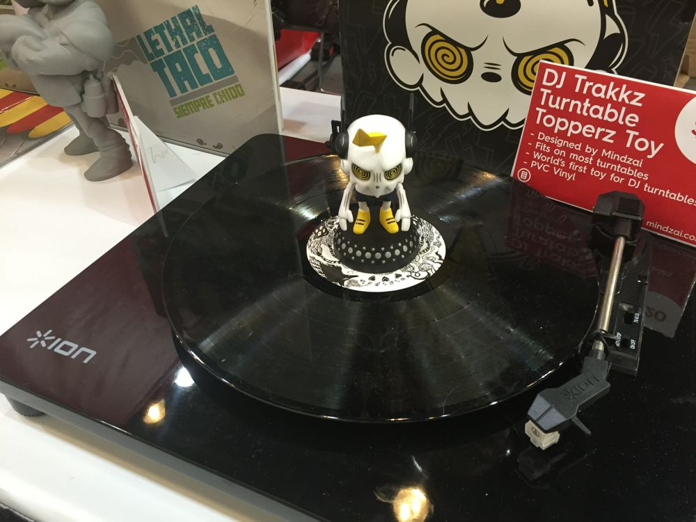 Mindzai made a toy that sits atop a turntable. (Photo: Liz Ohanesian)