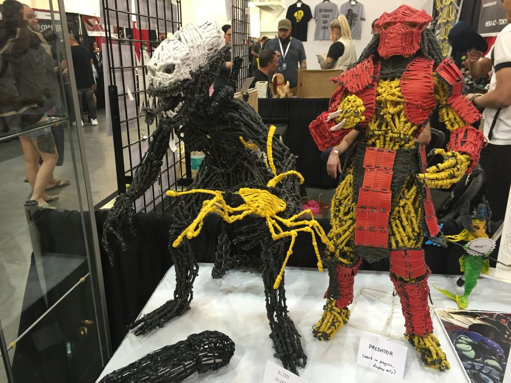Bishop Pina made these large Alien and Predator figures out of twist-ties. (Photo: Liz Ohanesian)