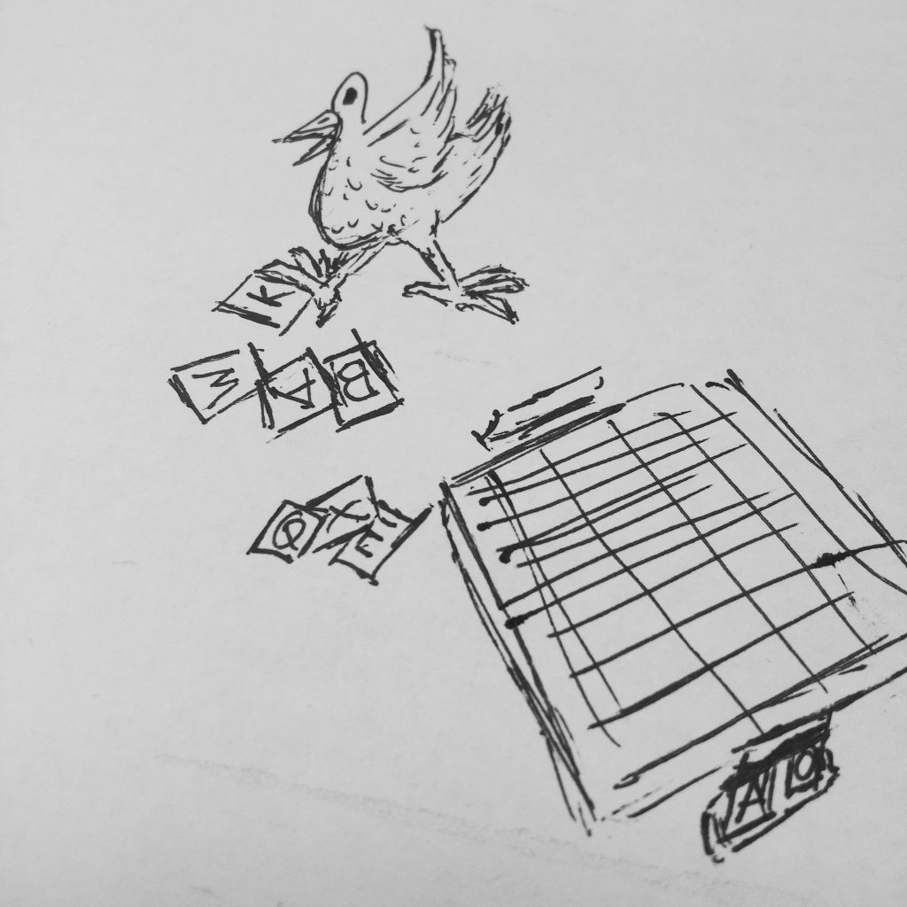 inktober 2018 Day8 – Day4-5 backlog – Poultry Scrabble – chicken and spell